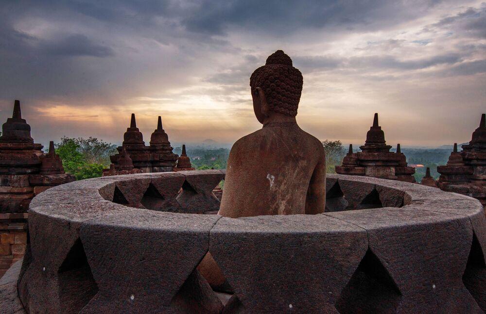 Templo budista de Borobudur, imagem do fotógrafo Sirsendu Gayen