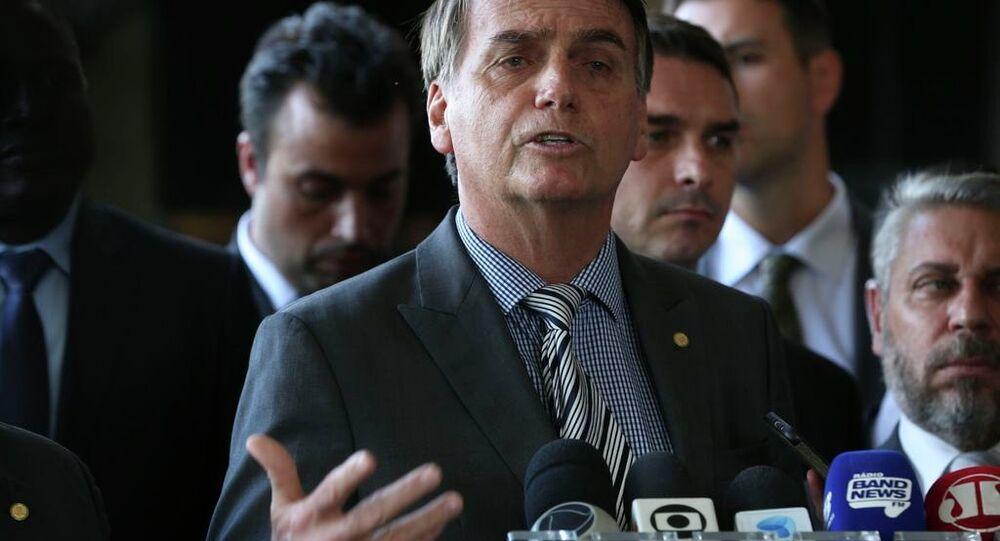 O presidente eleito, Jair Bolsonaro, em entrevista coletiva em Brasília