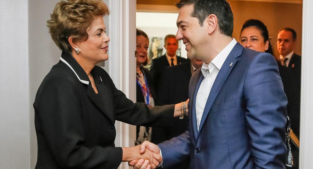 Dilma Rousseff durante encontro bilateral com primeiro-ministro da Grécia, Alexis Tsipras