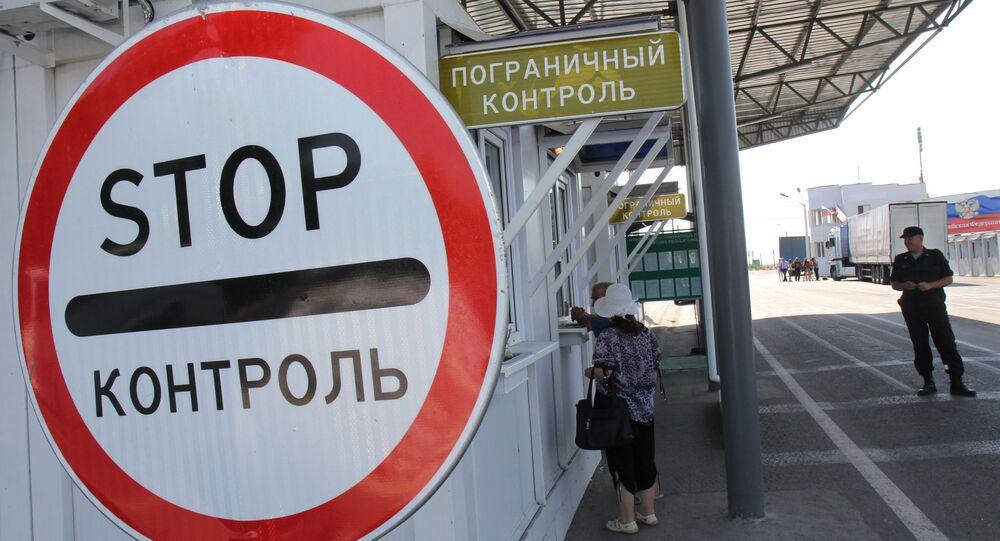 Posto de controle Armyansk na fronteira russo-ucraniana (foto de arquivo)