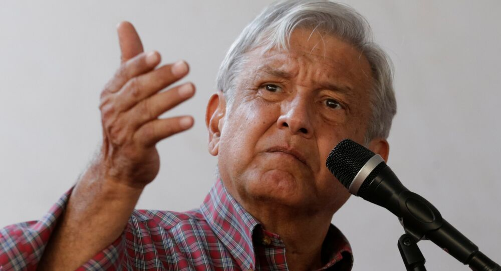 Andres Manuel Lopez Obrador, leader of the National Regeneration Movement (MORENA) party, gives a speech to supporters in Zumpango, Mexico