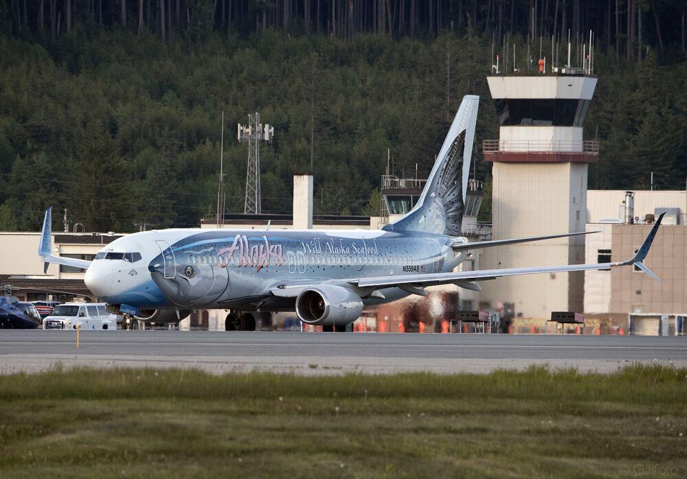 Aeronave da Alaska Airlines surge com um peixe enorme pintado na fuselagem