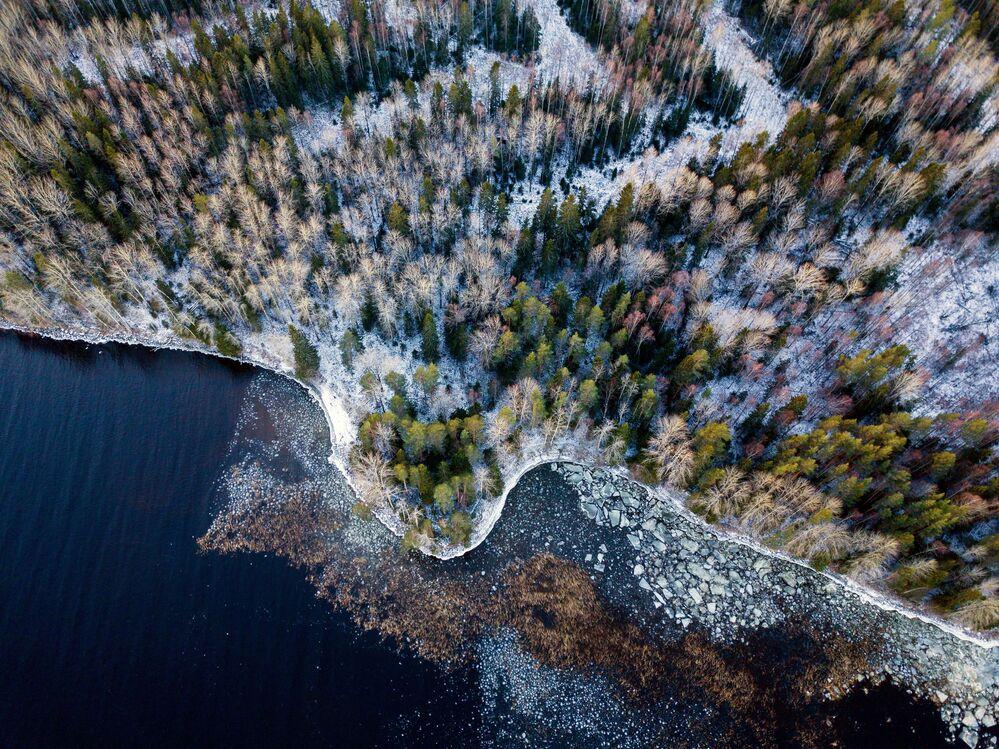 Costa do lago Onezhskoye na república russa de Carélia