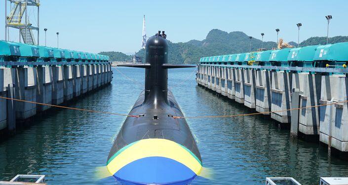 O submarino brasileiro Riachuelo.