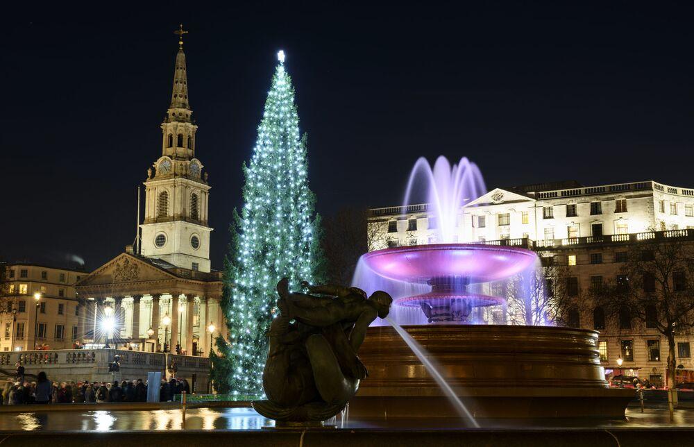 Árvore de Natal na Trafalgar Square em Londres