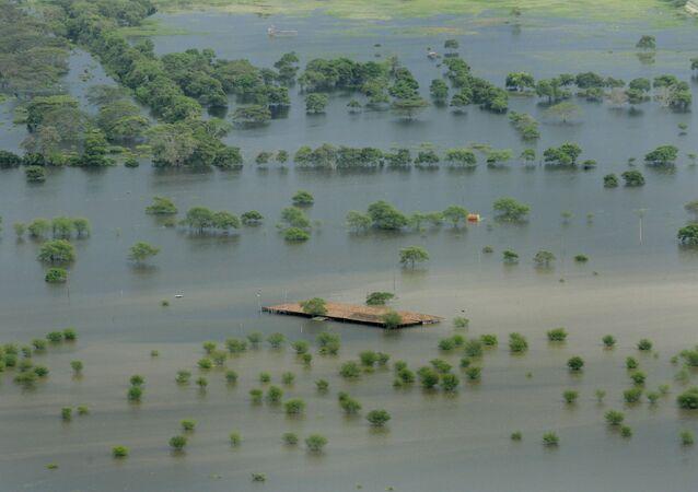 Inundações provocadas pelo fenômeno El Niño em Palmira, Colômbia, 1 de dezembro de 2010
