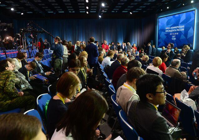 Jornalistas antes do início da coletiva de imprensa do presidente russo Vladimir Putin, 20 de dezembro de 2018
