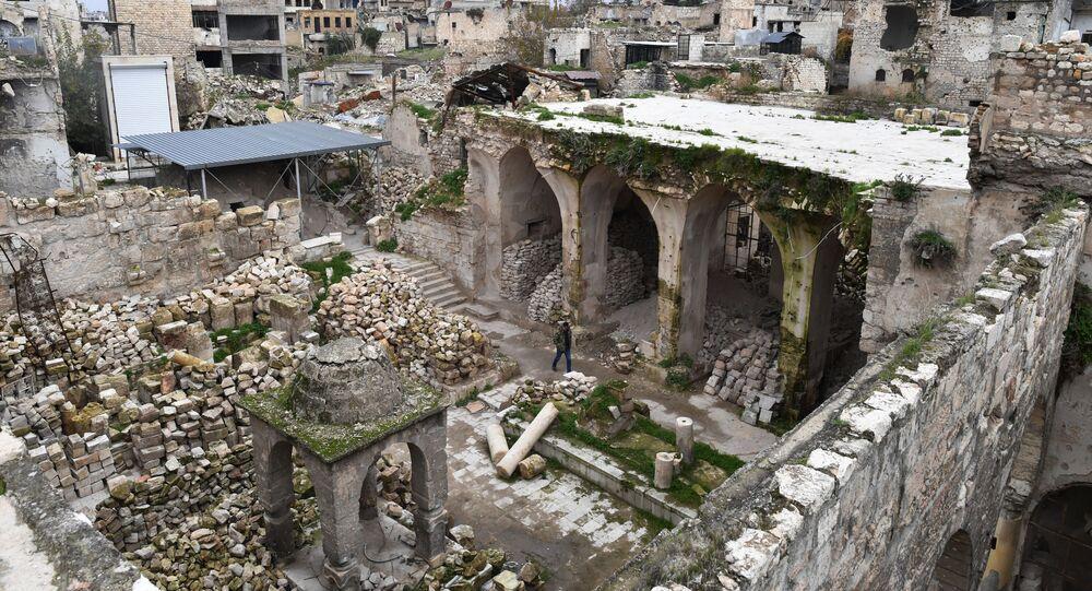 Sinagoga em ruínas em Aleppo, na Síria