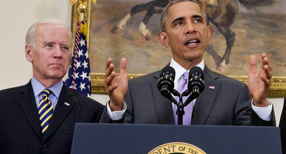 O então presidente americano Barack Obama com o seu vice Joe Biden (arquivo)