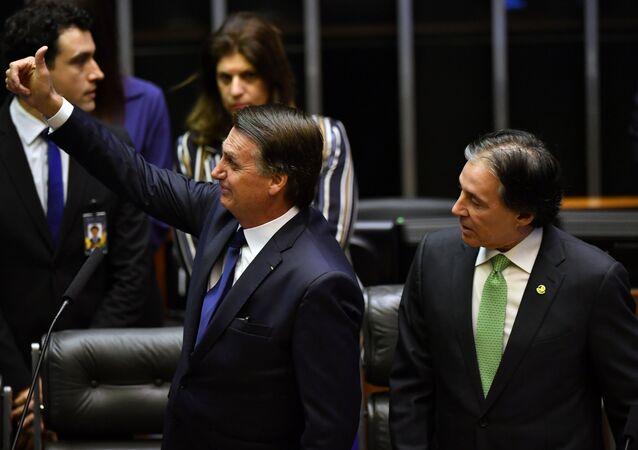 Presidente eleito Jair Bolsonaro durante cerimônia de posse