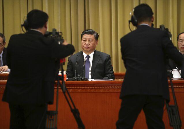 Xi Jinping, líder chinês, durante 40º aniversário da Mensagem aos Compatriotas de Taiwan, Pequim, 2 de janeiro de 2019