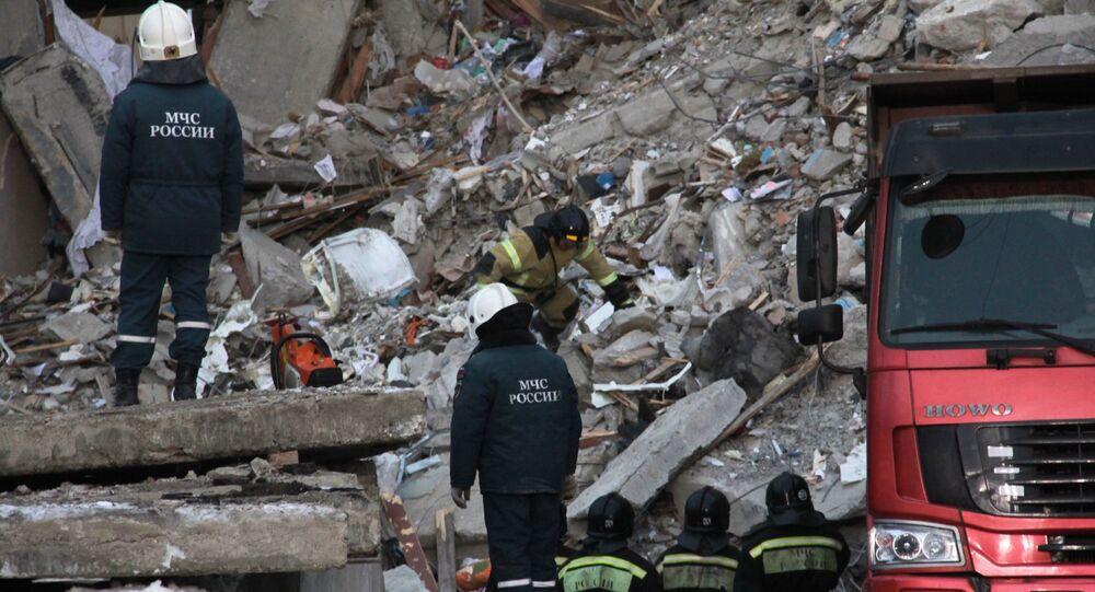 Situação em Magnitogorsk, Rússia, onde parte de um prédio residencial desabou na sequência de uma explosão de gás