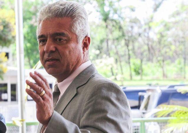 O senador eleito Major Olímpio (PSL-SP) fala à imprensa no Centro Cultural Banco do Brasil (CCBB), em Brasília