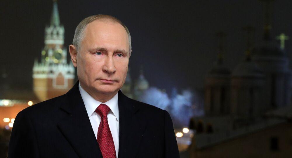 Presidente russo, Vladimir Putin, parabenizando os cidadãos russos pelo Ano Novo