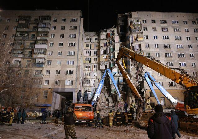 Escombros do prédio desabado na cidade russa de Magnitogorsk