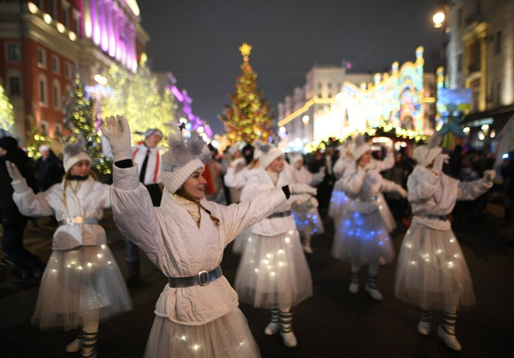 Celebração do Ano Novo nas ruas de Moscou