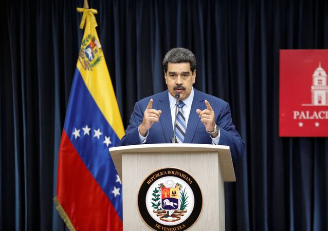 Presidente da Venezuela, Nicolás Maduro, durante coletiva de imprensa no Palácio de Miraflores em Caracas, 12 de dezembro de 2018