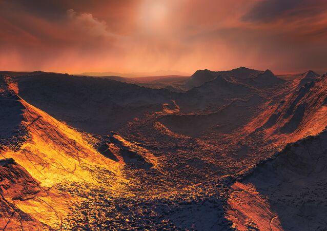 Ilustração artística da super-Terra que orbita a estrela de Barnard