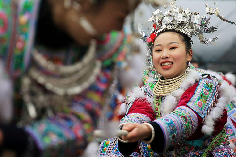 Comemoração do Ano Novo chinês na região autônoma chinesa Zhuang de Guangxi