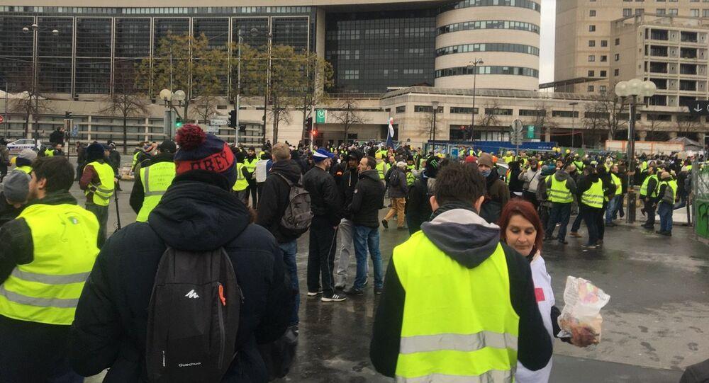 Coletes Amarelos em manifestação realizada no dia 12 de janeiro.