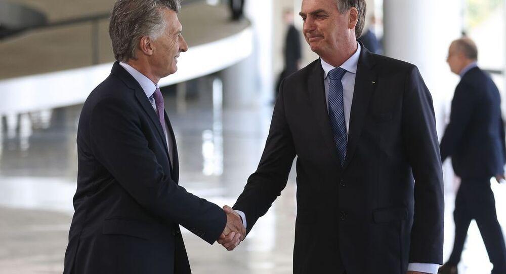 Presidente Jair Bolsonaro recebe o presidente argentino, Mauricio Macri no Palácio do Planalto
