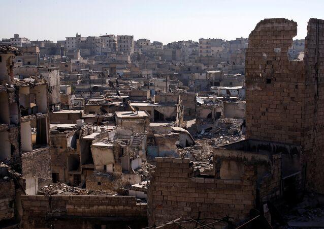 A general view shows damaged buildings at al-Kalasa district of Aleppo, Syria in Aleppo, Syria