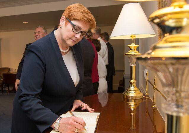 A então ministra da Defesa da Austrália, Marise Payne, durante visita à Washington em 27 de setembro de 2017.