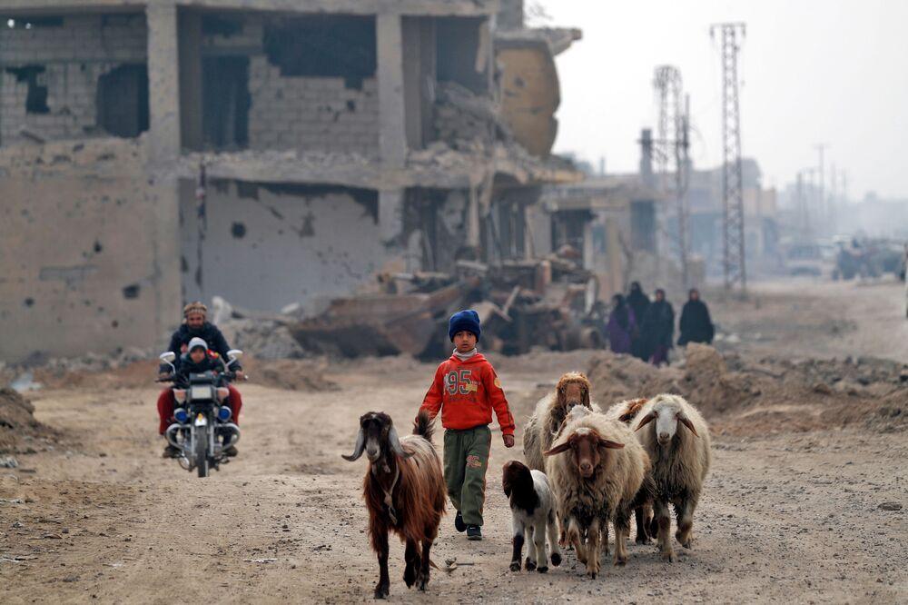 Civis regressam à cidade síria de Hajin libertada do grupo terrorista Daesh (proibido na Rússia e outros países)