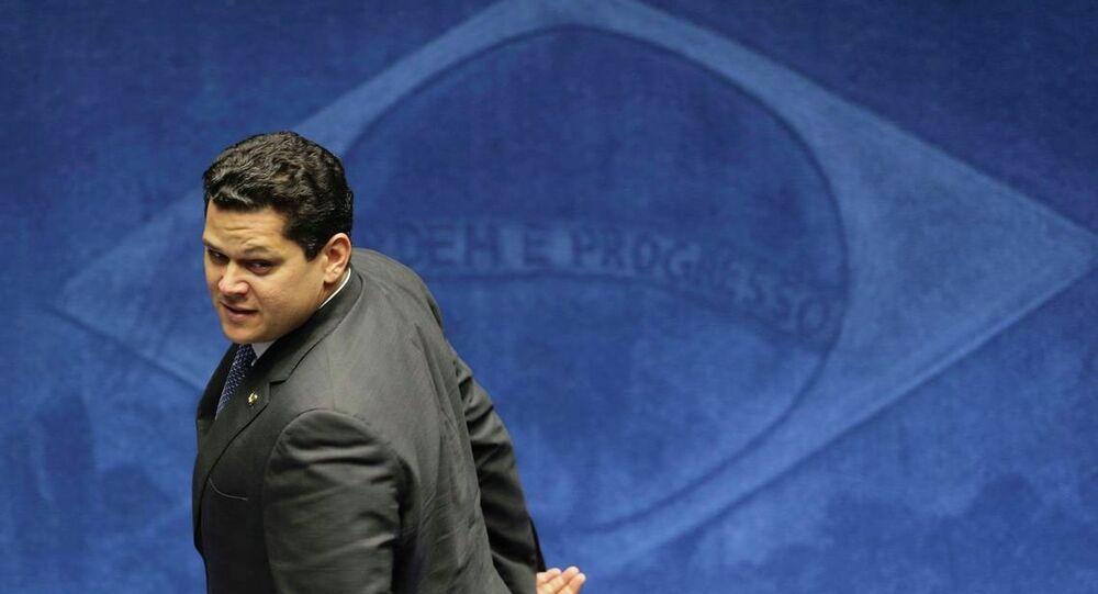 Plenário do Senado inicia o processo de votação para escolha de seu novo presidente. Na foto, o senador Davi Alcolumbre (DEM-AP).
