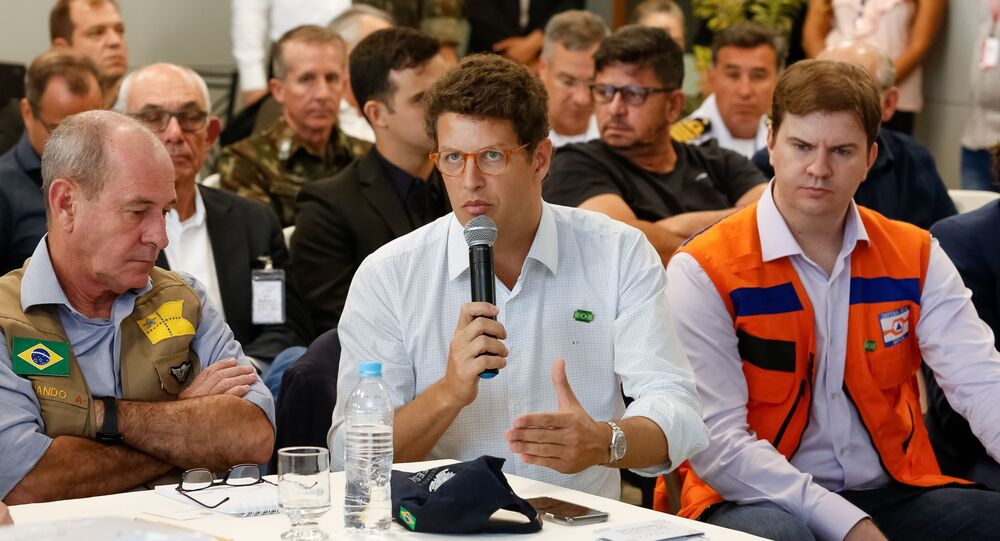 O ministro do Meio Ambiente, Ricardo Salles, durante encontro de trabalho em Belo Horizonte.