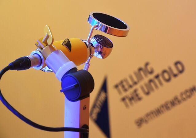 Microfone da Rádio Sputnik durante Fórum Internacional Econômico de São Petersburgo