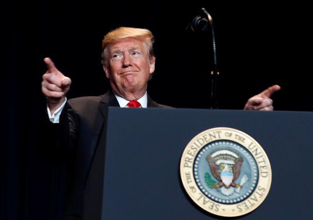 O presidente dos EUA, Donald Trump, durante o Café da Manhã da Oração Nacional