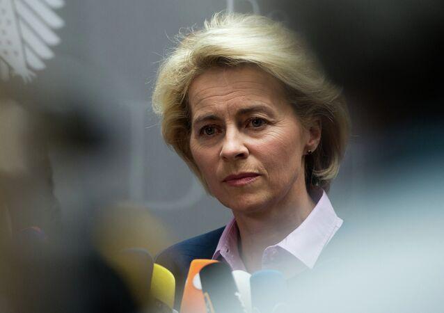 German Defence Minister Ursula von der Leyen tells journalist that the German armed forces are looking to replace the Heckler and Koch G36 rifle due to problems with its accuracy on April 22, 2015 in Berlin.