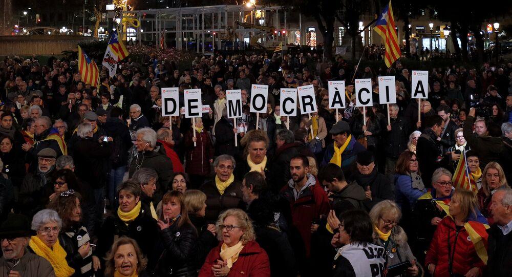 Apoiadores da independência da Catalunha em Barcelona (foto de arquivo).