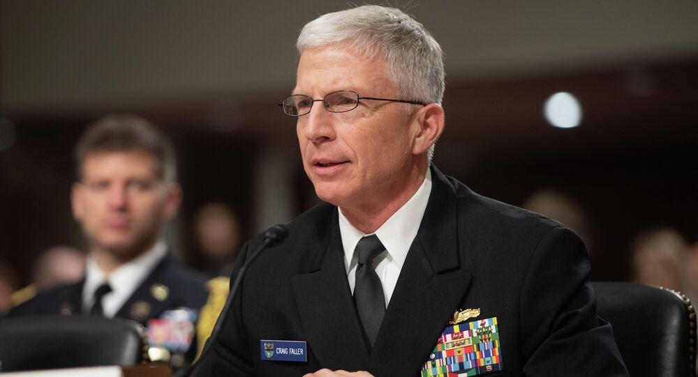 Almirante Craig Faller, chefe do Comando Sul dos EUA, durante audiência no senado norte-americano em 7 de fevereiro de 2019