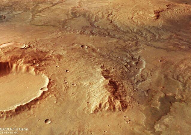Vista de antiga rede fluvial em Marte