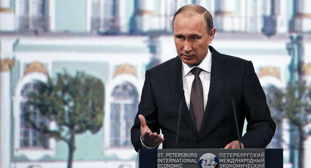 Presidente da Rússia Vladimir Putin discursa no Fórum Econômico Internacional de São Petersburgo