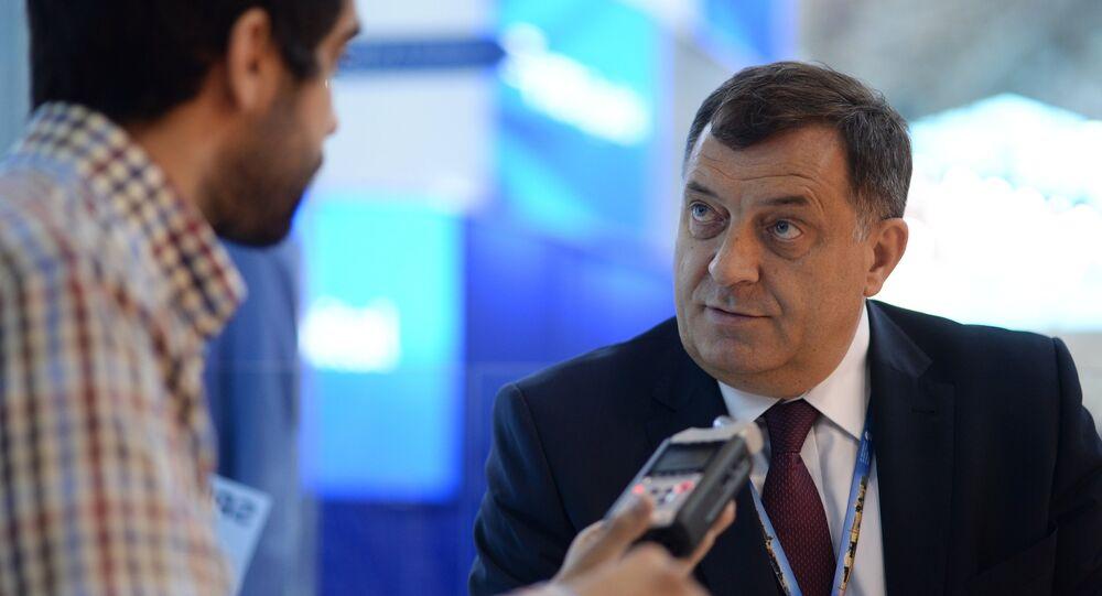 Milorad Dodik, presidente da República Sérvia durante o Fórum Internacional de São Petersburgo