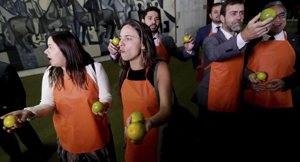 Parlamentares seguram laranjas no Congresso Nacional em Brasília em protesto contra presidente Jair Bolsonaro e contra o uso indevido de verba durante sua campanha eleitoral, 20 de fevereiro de 2019