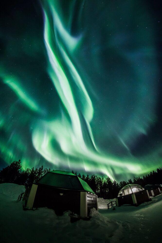 Aurora boreal no município finlandês de Rovaniemi