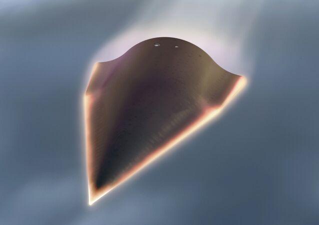 Veículo hipersônico não tripulado, projetado pela DARPA (imagem virtual)