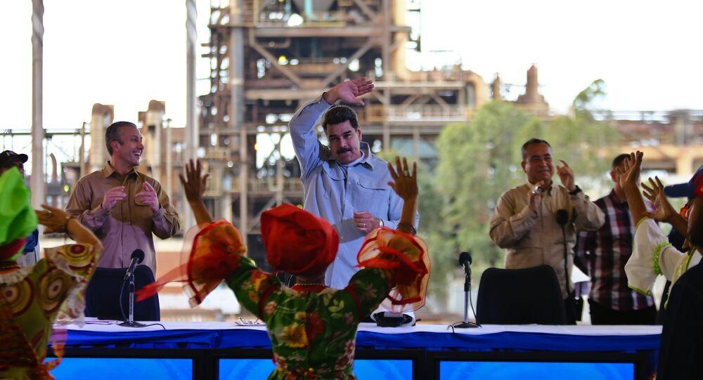 Imagem mostra presidente da Venezuela, Nicolás Maduro, durante evento para impulsionar negócios em Guayana, Venezuela, 6 de março de 2019