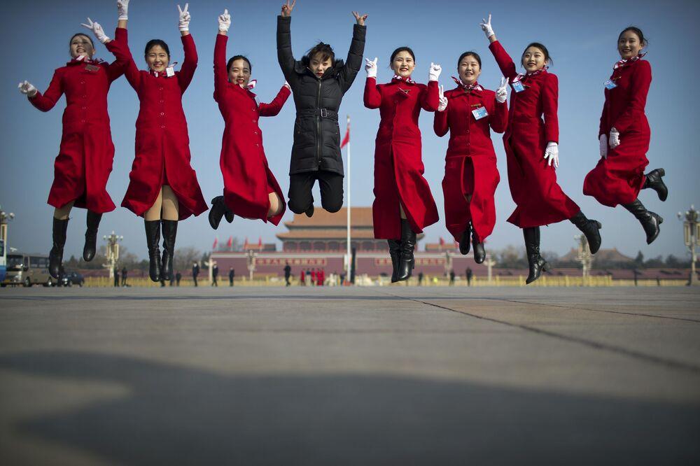 Mulheres durante sessão anual do Congresso Nacional do Povo (NPC), em Pequim, China, 4 de março de 2019