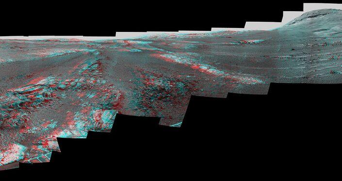 Versão 3D do panorama de Marte feito a partir das imagens tiradas pela sonda Opportunity da NASA