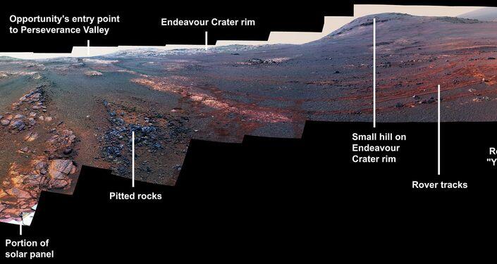 Panorama feito das imagens tiradas pela sonda Opportunity da NASA