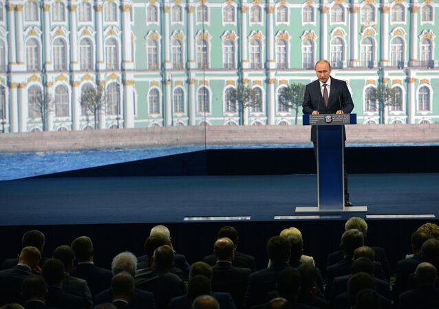 Presidente da Rússia Vladimir Putin no Fórum Econômico Internacional em São Petersburgo.