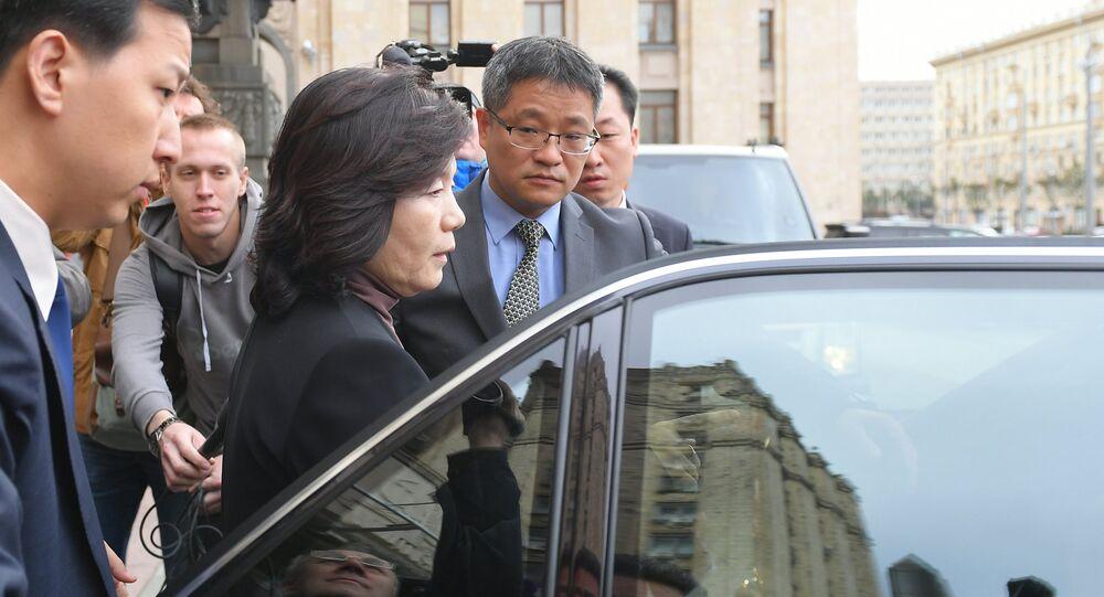 Choe Son-hui, viceministra de Exteriores de Corea del Norte después de visitar el Ministerio de Asuntos Exteriores de Rusia