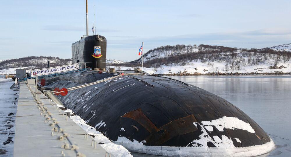 Submarino nuclear K-535 Yuri Dolgoruky, da Frota do Norte da Rússia (foto de arquivo)