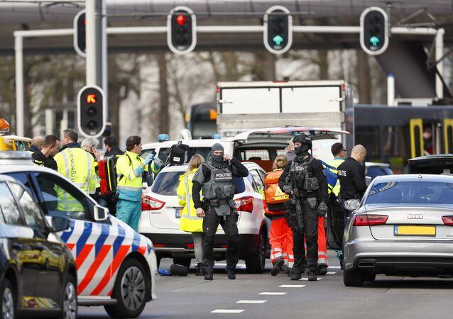 Lugar do tiroteio na cidade de Utrecht, Holanda