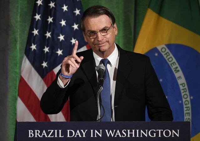 Presidente Jair Bolsonaro, do Brasil, discursando na Câmara de Comércio em Washington, em 18 de março de 2019